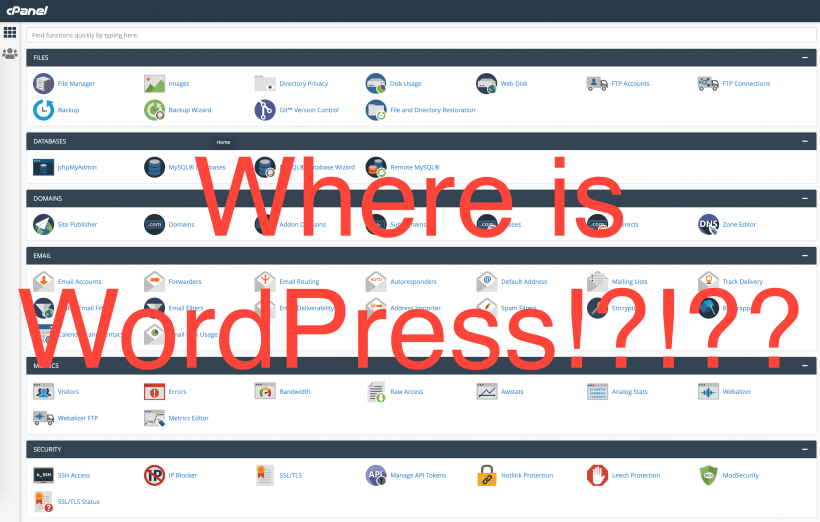 Where is WordPress in cPanel?