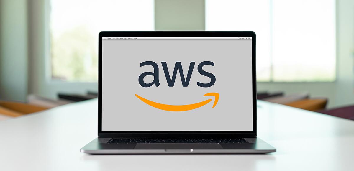 amazon web services logo on a laptop display